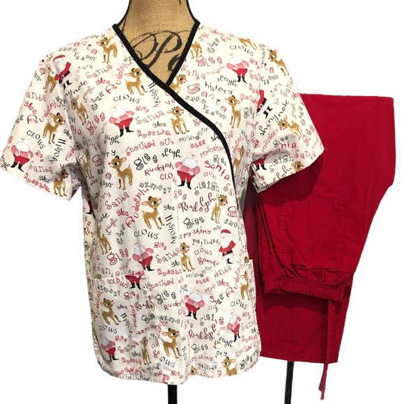 Rudolph Reindeer Scrub Top And Red Pants Outfit